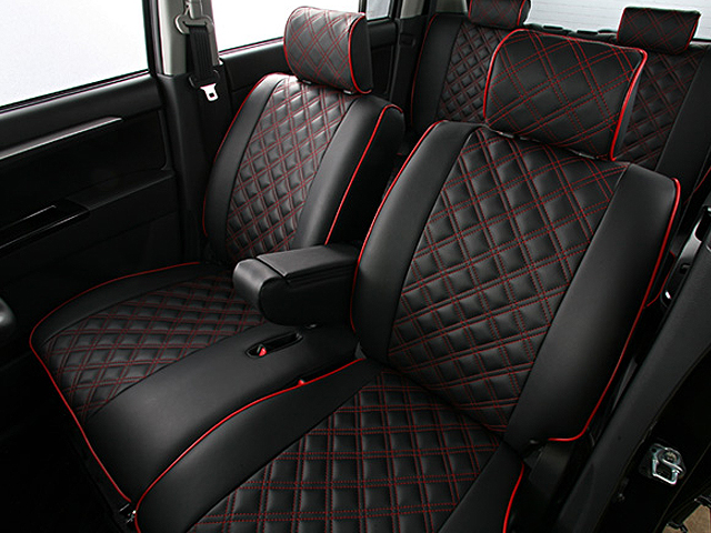Quilted red black seat